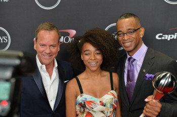 Los Angeles, CA - July 16, 2014:  Kiefer Sutherland and Stuart Scott behind the scenes at the 2014 ESPYS (Photo by Scott Clarke / ESPN Images)