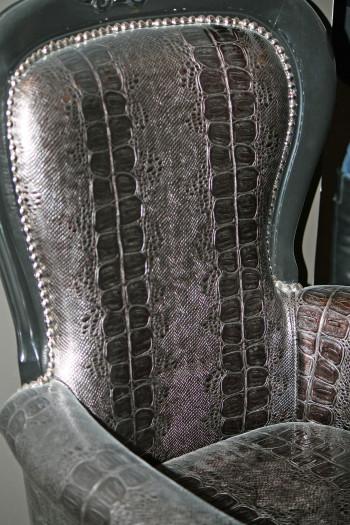 "A reptilian chair in Roman Godfrey's new digs on ""Hemlock Grove"""