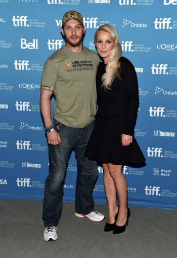 "TORONTO, ON - SEPTEMBER 06:  Actor Tom Hardy and actress Noomi Rapace of ""The Drop"" pose at ""The Drop"" Press Conference during the 2014 Toronto International Film Festival at TIFF Bell Lightbox on September 6, 2014 in Toronto, Canada.  (Photo by Alberto E. Rodriguez/Getty Images)"