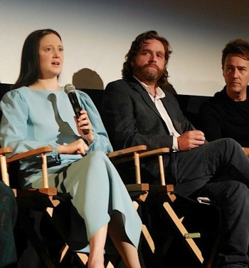 "Andrea Riseborough, Zach Galifianakis & Edwart Norton at the ""Birdman"" press conference in NYC 