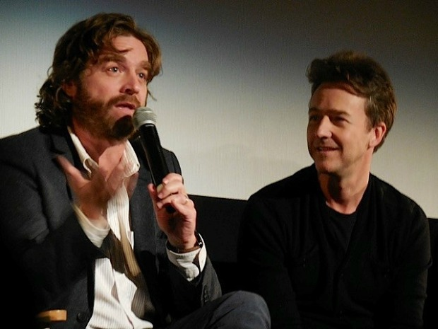 "Zack Galifianakis and Edwart Norton at the ""Birdman"" press conference in NYC 
