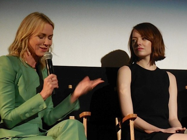 "Naomi Watts and Emma Stone at the ""Birdman"" press conference in NYC 
