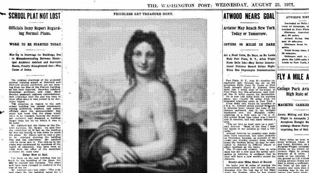 When the Washington Post reported on the theft of the Mona Lisa in 1911, the newspaper used the wrong image of the painting.