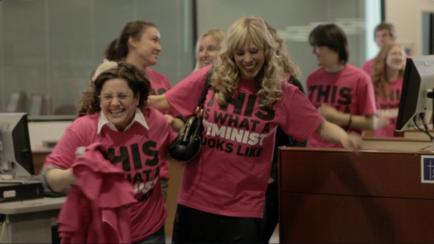 """Marissa Jaret Winokur with Cathryn Michon and cast in """"Muffin Top: A Love Story"""""""