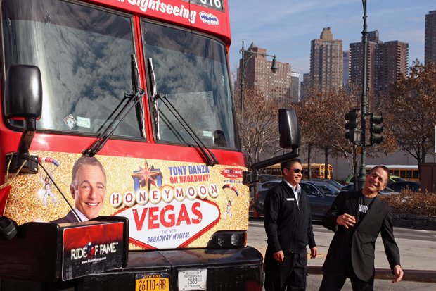 Tony Danza gets a kick out of seeing his face on a doubledecker bus in New York City   Melanie Votaw Photo