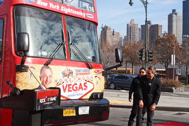 Tony Danza with the doubledecker bus dedicated to him in New York City | Melanie Votaw Photo