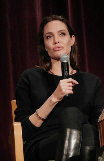 "Angelina Jolie at a Manhattan press conference for ""Unbroken"" 