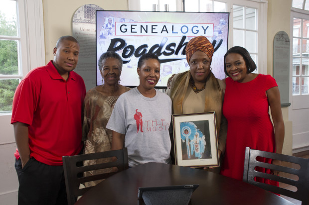 Cherise Harrison-Nelson and family with genealogist Kenyatta Berry on Genealogy Road Show