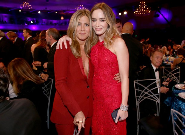 LOS ANGELES, CA - JANUARY 15:  (EXCLUSIVE COVERAGE) Actresses Jennifer Aniston (L) and Emily Blunt pose during the 20th annual Critics' Choice Movie Awards at the Hollywood Palladium on January 15, 2015 in Los Angeles, California.  (Photo by Christopher Polk/Getty Images for CCMA)