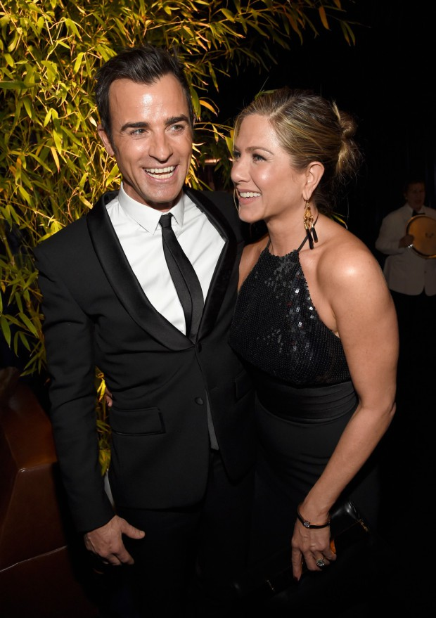 BEVERLY HILLS, CA - JANUARY 11:  Actors Justin Theroux (L) and Jennifer Aniston attend the 2015 InStyle And Warner Bros. 72nd Annual Golden Globe Awards Post-Party at The Beverly Hilton Hotel on January 11, 2015 in Beverly Hills, California.  (Photo by Kevin Mazur/Getty Images for InStyle);Sent to Reel Life With Jane by and used with permission of Slate PR