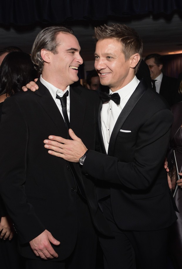 BEVERLY HILLS, CA - JANUARY 11:  Actors Joaquin Phoenix (L) and Jeremy Renner attend the 2015 InStyle And Warner Bros. 72nd Annual Golden Globe Awards Post-Party at The Beverly Hilton Hotel on January 11, 2015 in Beverly Hills, California.  (Photo by Stefanie Keenan/Getty Images for InStyle); Sent to Reel Life With Jane by and used with permission of Slate PR