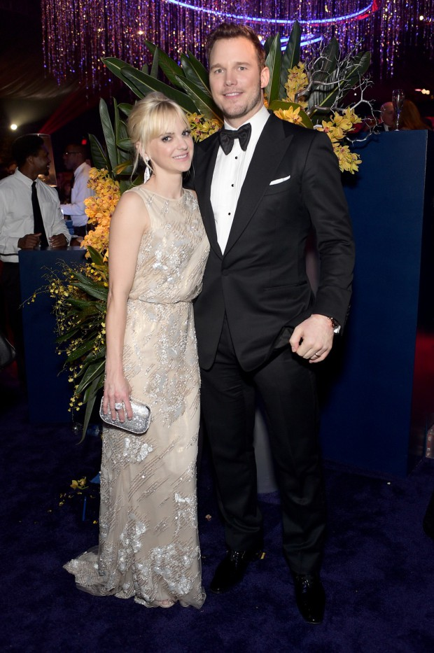 BEVERLY HILLS, CA - JANUARY 11:  Actors Anna Faris and Chris Pratt attend the 2015 InStyle And Warner Bros. 72nd Annual Golden Globe Awards Post-Party at The Beverly Hilton Hotel on January 11, 2015 in Beverly Hills, California.  (Photo by Stefanie Keenan/Getty Images for InStyle); Sent to Reel Life With Jane by and used with permission of Slate PR