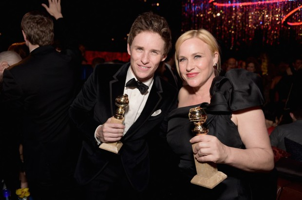 BEVERLY HILLS, CA - JANUARY 11:  Actors Eddie Redmayne (L) and Patricia Arquette attend the 2015 InStyle And Warner Bros. 72nd Annual Golden Globe Awards Post-Party at The Beverly Hilton Hotel on January 11, 2015 in Beverly Hills, California.  (Photo by Stefanie Keenan/Getty Images for InStyle); Sent to Reel Life With Jane by and used with permission of Slate PR