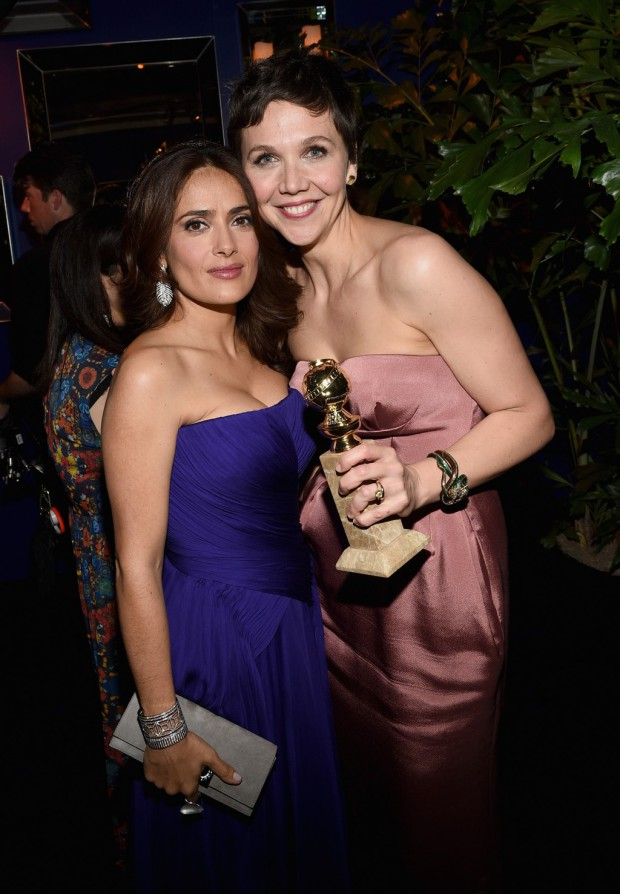 BEVERLY HILLS, CA - JANUARY 11:  Actresses Salma Hayek and Maggie Gyllenhaal attend the 2015 InStyle And Warner Bros. 72nd Annual Golden Globe Awards Post-Party at The Beverly Hilton Hotel on January 11, 2015 in Beverly Hills, California.  (Photo by Michael Buckner/Getty Images for InStyle); Sent to Reel Life With Jane by and used with permission of Slate PR
