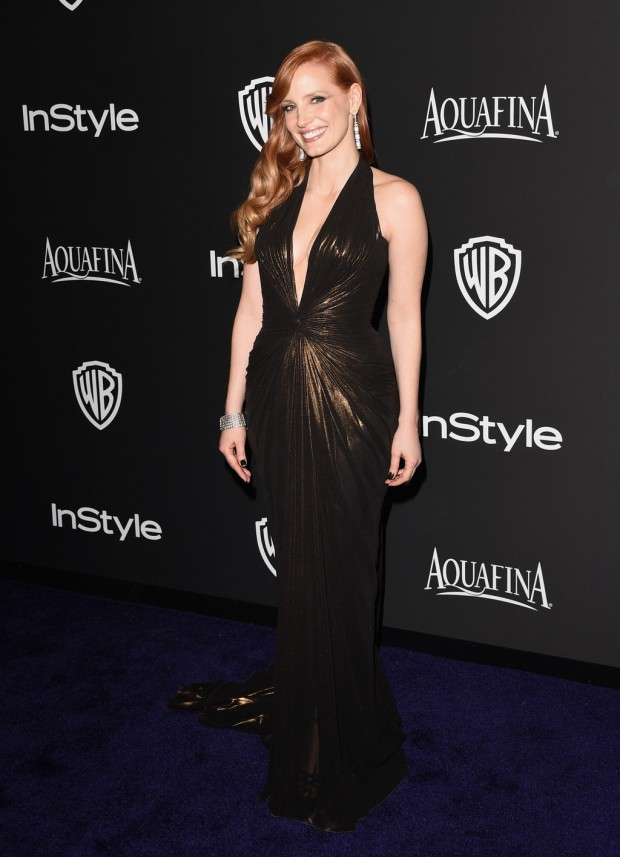 BEVERLY HILLS, CA - JANUARY 11:  Actress Jessica Chastain attends the 2015 InStyle And Warner Bros. 72nd Annual Golden Globe Awards Post-Party at The Beverly Hilton Hotel on January 11, 2015 in Beverly Hills, California.  (Photo by Jason Merritt/Getty Images); sent to Reel Life With Jane by and used with permission of Slate PR.