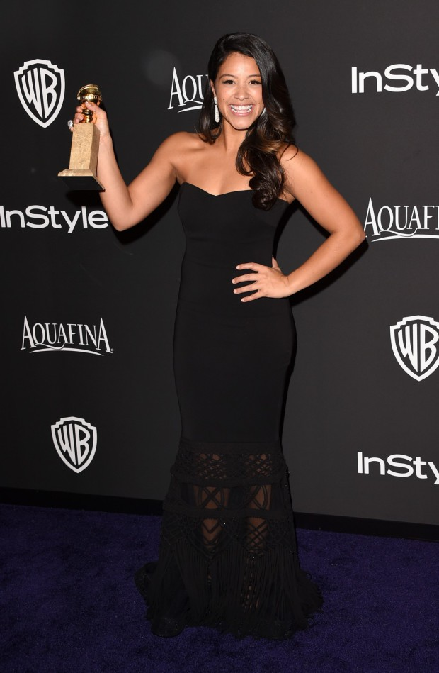 BEVERLY HILLS, CA - JANUARY 11:  Actress Gina Rodriguez attends the 2015 InStyle And Warner Bros. 72nd Annual Golden Globe Awards Post-Party at The Beverly Hilton Hotel on January 11, 2015 in Beverly Hills, California.  (Photo by Jason Merritt/Getty Images); Sent to Reel Life With Jane by and used with permission of Slate PR