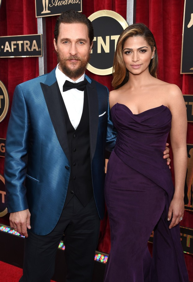 LOS ANGELES, CA - JANUARY 25:  Actor Matthew McConaughey (L) and model Camila Alves attend TNT's 21st Annual Screen Actors Guild Awards at The Shrine Auditorium on January 25, 2015 in Los Angeles, California. 25184_014  (Photo by Dimitrios Kambouris/WireImage) *** Local Caption *** Matthew McConaughey;Camila Alves