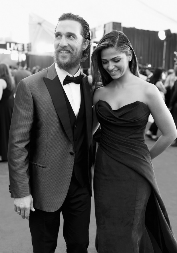 LOS ANGELES, CA - JANUARY 25:  (Editors Note: Image has been processed using digital filters) Actor Matthew McConaughey (L) and model Camila Alves attend TNT's 21st Annual Screen Actors Guild Awards at The Shrine Auditorium on January 25, 2015 in Los Angeles, California. 25184_014  (Photo by Dimitrios Kambouris/WireImage)