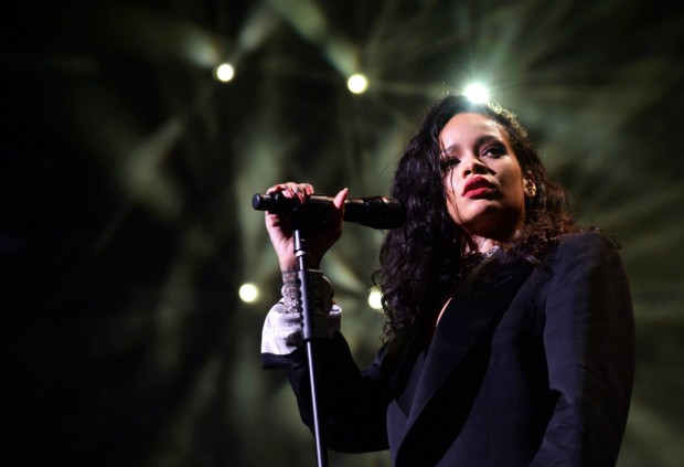 Rihanna onstage during DirecTV Super Saturday Night hosted by Mark Cuban's AXS TV and Pro Football Hall of Famer Michael Strahan at Pendergast Family Farm on January 31, 2015 in Glendale, Arizona (Photo by Kevin Mazur/Getty Images for DirecTV via Image.net)