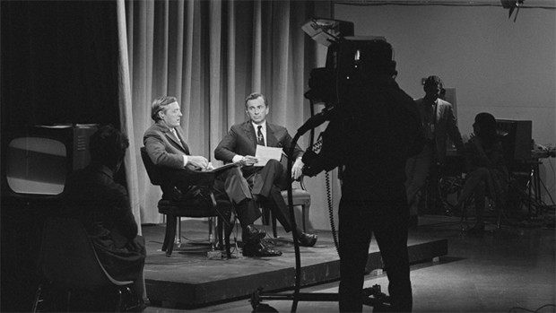 William F. Buckley, Jr. and Gore Vidal on the set of their 1968 debates for ABC