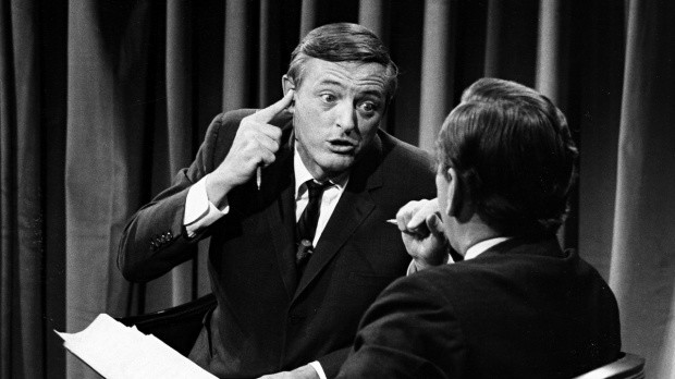 William F. Buckley, Jr. and Gore Vidal during one of their famous 1968 debates on ABC.