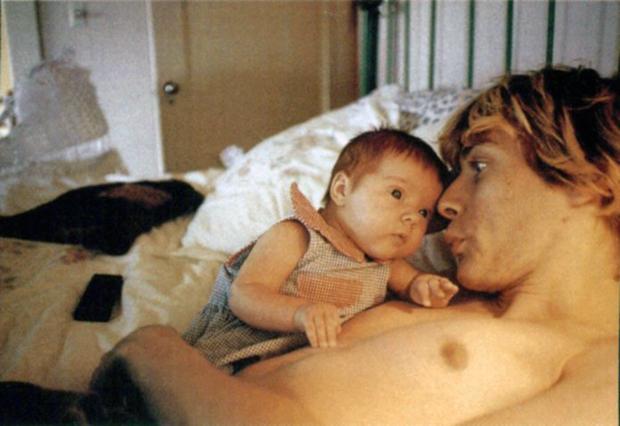 "Kurt Cobain with his daughter, Frances Bean Cobain in ""Kurt Cobain: Montage of Heck"""