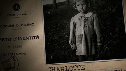 """A still from """"My Italian Secret"""" showing falsified documents of a Jewish child."""