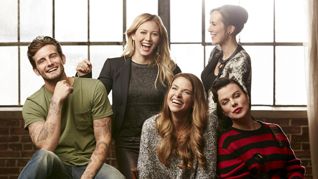 "The cast of ""Younger"" - Nico Tortorella as Josh, Hilary Duff as Kelsey, Sutton Foster as Liza, Miriam Shor as Diana, and Debi Mazar as Maggie."