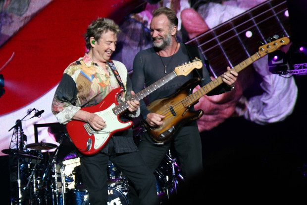 Andy Summers and Sting perform during The Police reunion tour