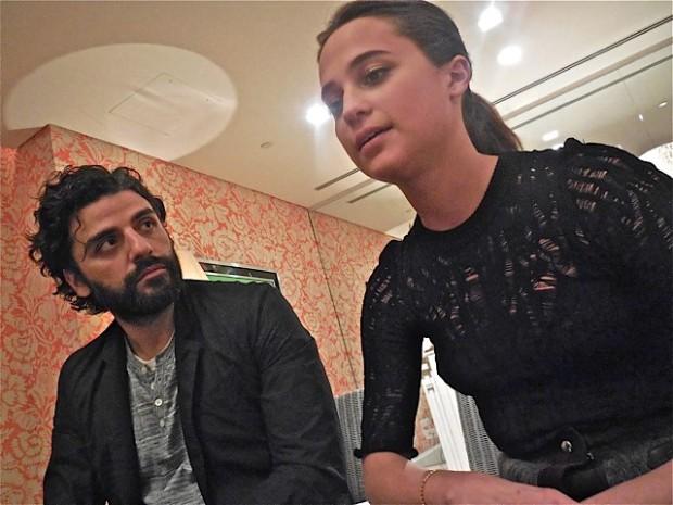 "Oscar Isaac and Alicia Vikander at a roundtable press event for ""Ex Machina"" | Paula Schwartz Photo"