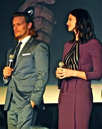"Caitriona Balfe and Sam Heughan at the ""Outlander"" midseason premiere in Manhattan | Paula Schwartz Photo"