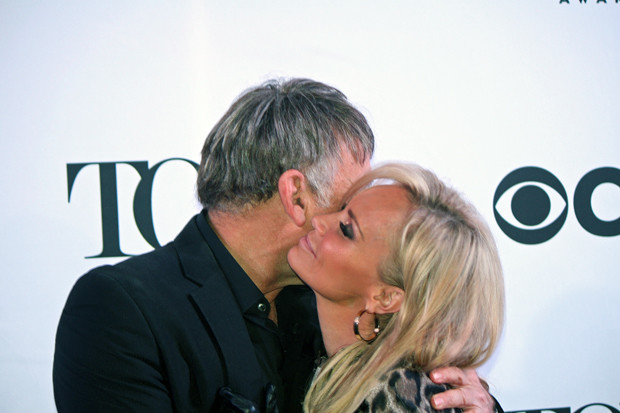 "A ""Wicked"" reunion: composer Stephen Schwartz and Kristin Chenoweth embrace on the red carpet 