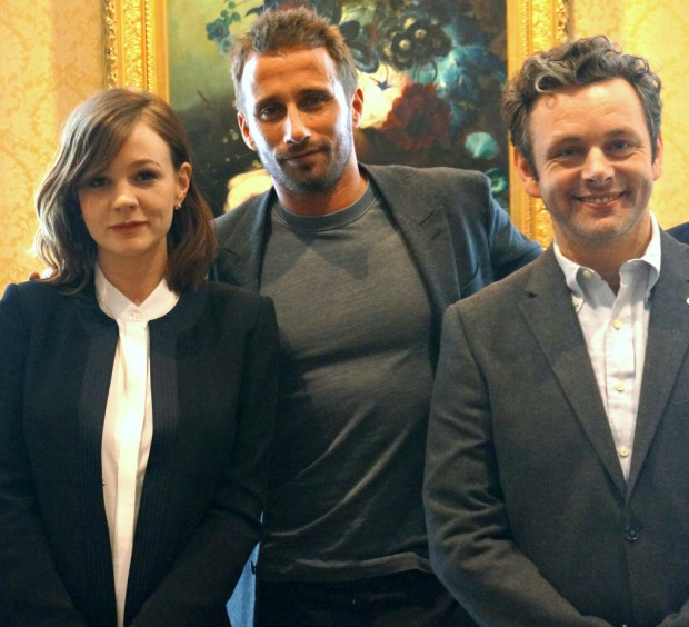 "Carey Mulligan, Matthias Shoenaerts, and Michael Sheen at a press junket for ""Far From the Madding Crowd"" 