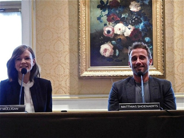 "Carey Mulligan and Matthias Shoenaerts at a press junket for ""Far From the Madding Crowd"" 