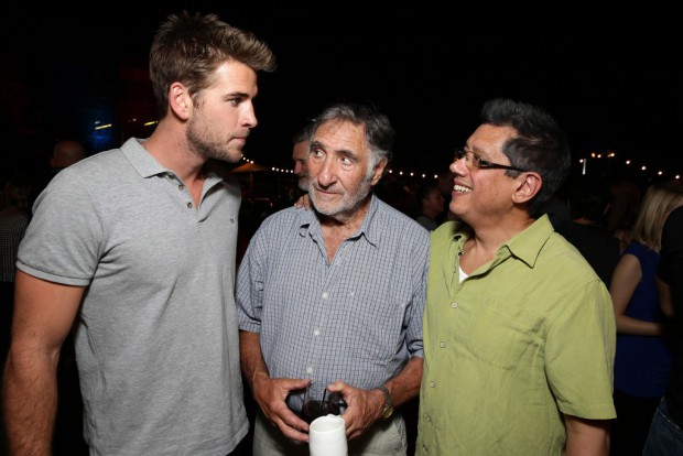 "EXCLUSIVE -  Liam Hemsworth, Judd Hirsch and Producer Dean Devlin seen at the ""Independence Day Resurgence"" Global Production Event on Monday, June 22, 2015, in Albuquerque, New Mexico. (Photo by Eric Charbonneau/Invision for Twentieth Century Fox/AP Images)"