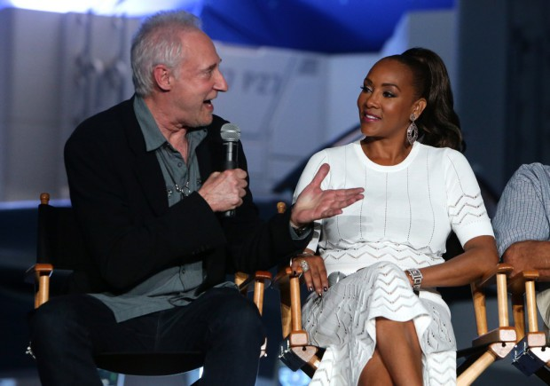 "EXCLUSIVE - Brent Spiner and Vivica A. Fox seen at the ""Independence Day Resurgence"" Global Production Event on Monday, June 22, 2015, in Albuquerque, New Mexico. (Photo by Eric Charbonneau/Invision for Twentieth Century Fox/AP Images)"