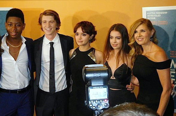 """R.J. Cyler, Thomas Mann, Olivia Cooke, Rachel TK and Connie Britton at the New York premiere of """"Me and Earl and the Dying Girl"""" 