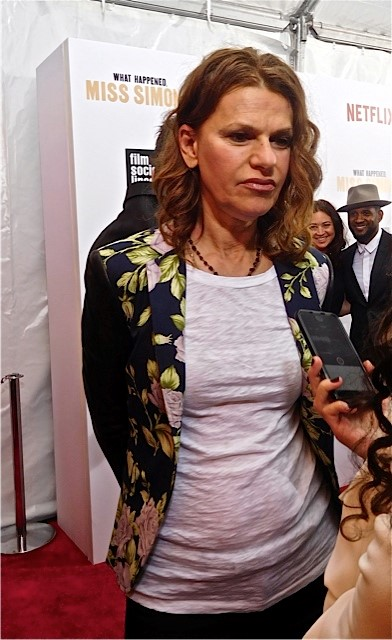 "Sandra Bernhard at the NY Premiere of Nina Simone Documentary, ""What Happened, Miss Simone?""   Paula Schwartz Photo"