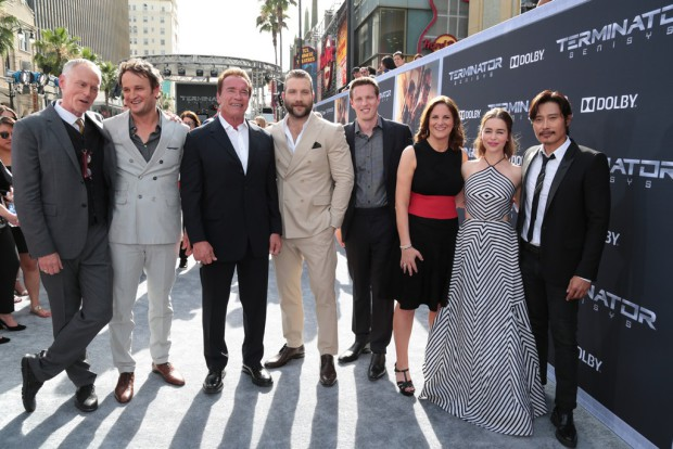 """Alan Taylor, Jason Clarke, Arnold Schwarzenegger, Jai Courtney, David Ellison, Dana Goldberg, Emilia Clarke and Byung-hun Lee pose together as Paramount Pictures presents the Los Angeles premiere of """"Terminator Genisys"""" at the Dolby Theatre in Los Angeles, California on Sunday, June 28, 2015. (Photo: Alex J. Berliner/ABImages)"""