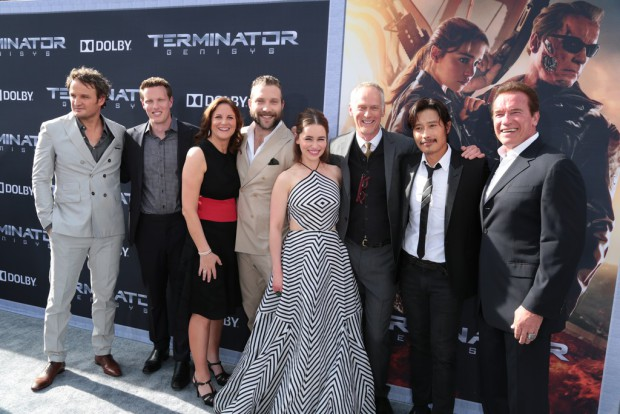 """Jason Clarke, David Ellison, Dana Goldberg, Jai Courtney, Emilia Clarke, Alan Taylor, Byung-hun Lee and Arnold Schwarzenegger pose together as Paramount Pictures presents the Los Angeles premiere of """"Terminator Genisys"""" at the Dolby Theatre in Los Angeles, California on Sunday, June 28, 2015. (Photo: Alex J. Berliner/ABImages)"""