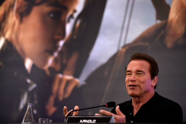 RIO DE JANEIRO, BRAZIL – JUNE 1: Arnold Schwarzenegger attends the press conference for Paramount Pictures 'Terminator Genisys' at the Copacabana Palace Hotel on June 1, 2015 in Rio de Janeiro, Brazil. (Photo by Raphael Dias/Getty Images for Paramount Pictures International)