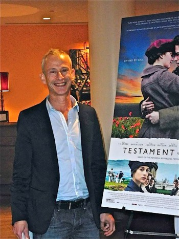 "Director James Kent at a press event for ""Testament of Youth"" 