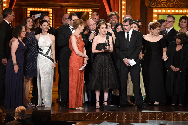 "Cast and creative of ""Fun Home"" accept the award for Best Musical onstage at the 2015 Tony Awards at Radio City Music Hall on June 7, 2015 in New York City.  (Photo by Theo Wargo/Getty Images for Tony Awards Productions)"