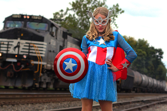"""My daughter LOVES superheroes, in particular she loves the Avengers. She doesn't need a superhero and she certainly isn't thinking of kissing any. What she needs is for corporations to stop telling her that because of her gender she couldn't possibly BE the superhero herself.""Image courtesy of Costume Express"