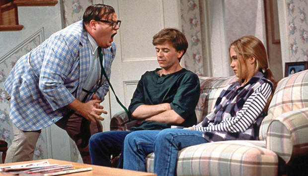 "Chris Farley on ""Saturday Night Live"" with David Spade and Christina Applegate, portraying his motivational speaker character who lived in a van down by the river."