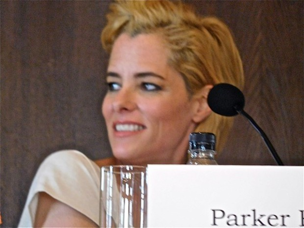 "Parker Posey at a press conference for  Woody Allen's ""Irrational Man"" 