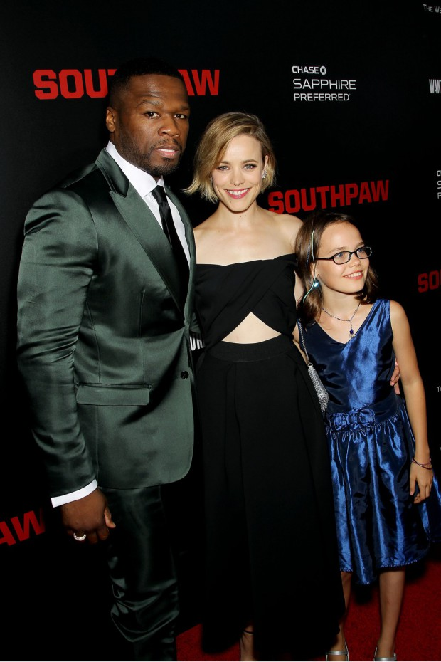 """New York Premiere of The Weinstein Company's """"SOUTHPAW"""" Presented by Chase Sapphire Preferred; PICTURED: 50 Cent, Rachel McAdams, Oona Laurence 