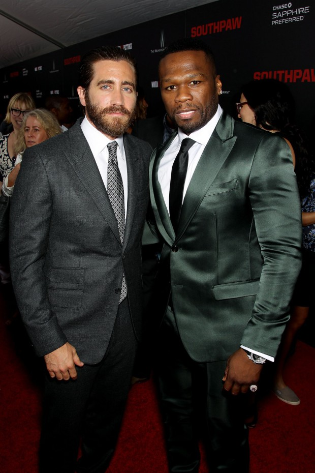 """New York Premiere of The Weinstein Company's """"SOUTHPAW"""" Presented by Chase Sapphire Preferred; PICTURED: Jake Gyllenhall, 50 Cent 