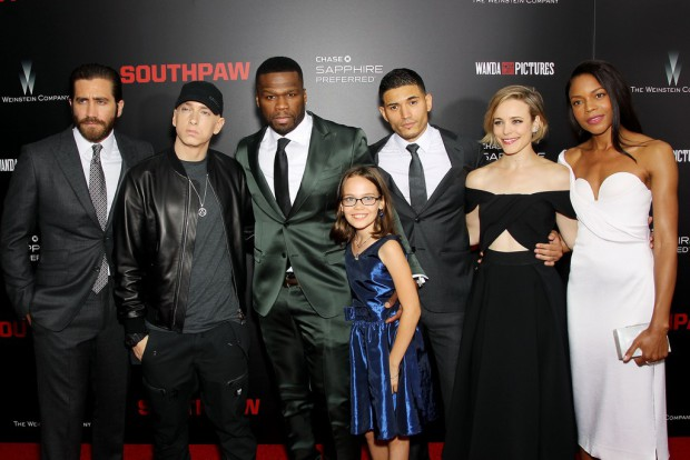 """New York Premiere of The Weinstein Company's """"SOUTHPAW"""" Presented by Chase Sapphire Preferred; PICTURED: Jake Gyllenhall, Eminem, 50 Cent, Oona Laurence, Miguel Gomez, Rachel McAdams, Naomie Harris (Cast) 