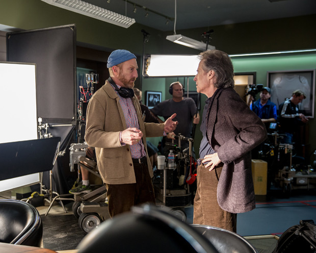 "Jonathan Ames and Richard Lewis on the set of ""Blunt Talk"""